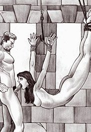Sex slaves - she closes her eyes and struggles to take a huge penis deep into her mouth by Leandro